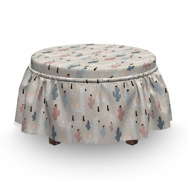 Llama Childish Cactus Animal 2 Piece Box Cushion Ottoman Slipcover Set By East Urban Home