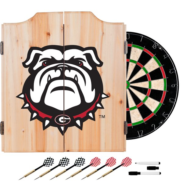 University of Georgia Dartboard and Cabinet Set by Trademark Global