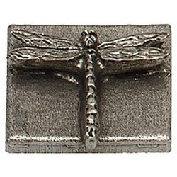 Naturalist Dragon Fly 2 x 2 Pewter Hand-Painted Tile in Natural Pewter by Premier Hardware Designs