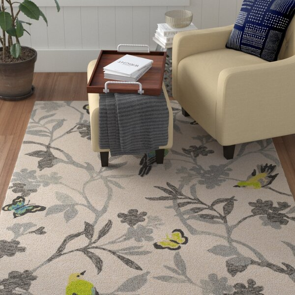 Muhja Hand-Hooked Lime Cream/Gray Indoor/Outdoor Area Rug by Winston Porter
