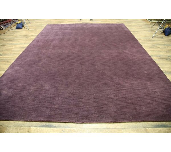 Fortune Oriental Hand-Knotted Wool Purple Area Rug by Ebern Designs