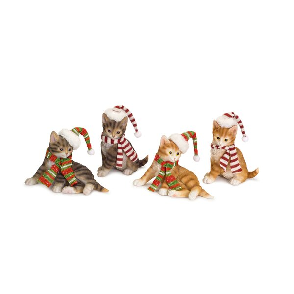 4 Piece Resin Cat with Santa Hat Set (Set of 4) by The Holiday Aisle