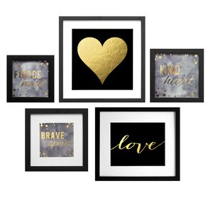 'Dark Diva Collage' 5 Piece Framed Graphic Art Set by Willa Arlo Interiors