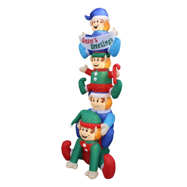 Stacked Elves Yard Christmas Inflatable by The Holiday Aisle