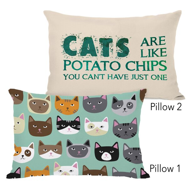 Mahr Cat Smiles and Cats Are Like Potato Chips 2 Piece Lumbar Pillow Set by Winston Porter
