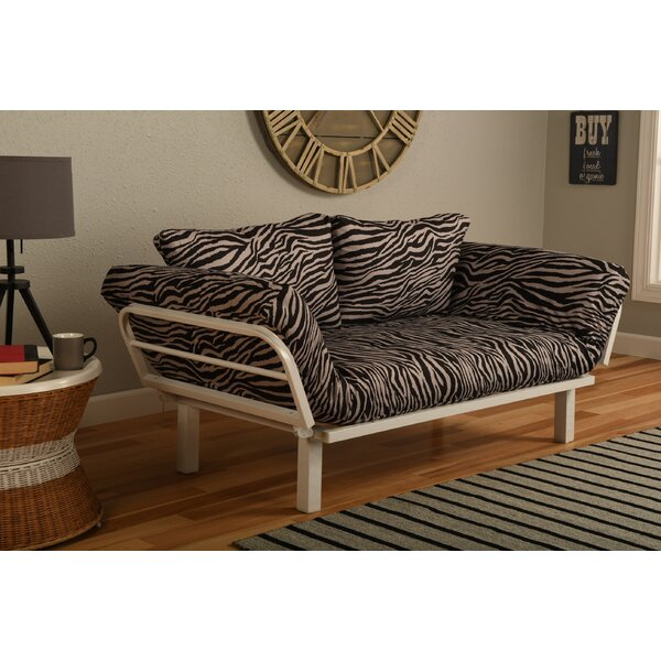 Maloof Convertible Lounger in Zebra Zen Futon and Mattress by Bloomsbury Market