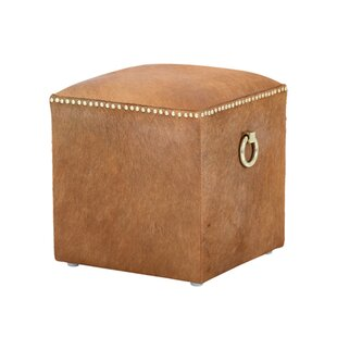 Phoebe Leather Cube Ottoman