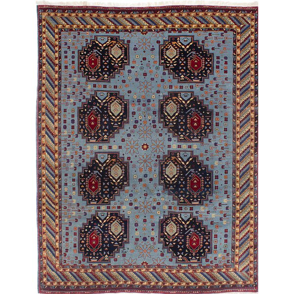 One-of-a-Kind Pacheco Hand-Knotted Light Blue/Brown Area Rug by Bloomsbury Market