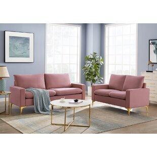 Amali 2 Piece Velvet Configurable Living Room Set by Mercer41