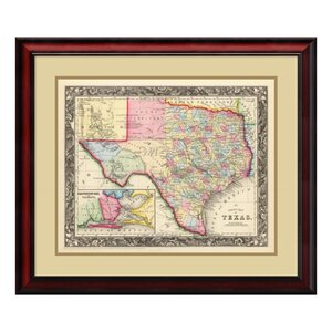 'County Map of Texas, 1860' by Samuel Augustus Mitchell Framed Graphic Art by Amanti Art