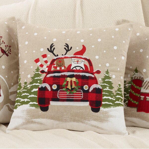 Arias Santa and Reindeer Car Throw Pillow by The Holiday Aisle