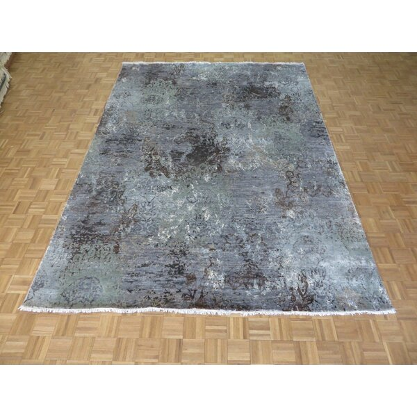One-Of-A-Kind Pellegrino Modern Abstract Hand-Knotted Wool Sky Blue Area Rug By Bloomsbury Market.