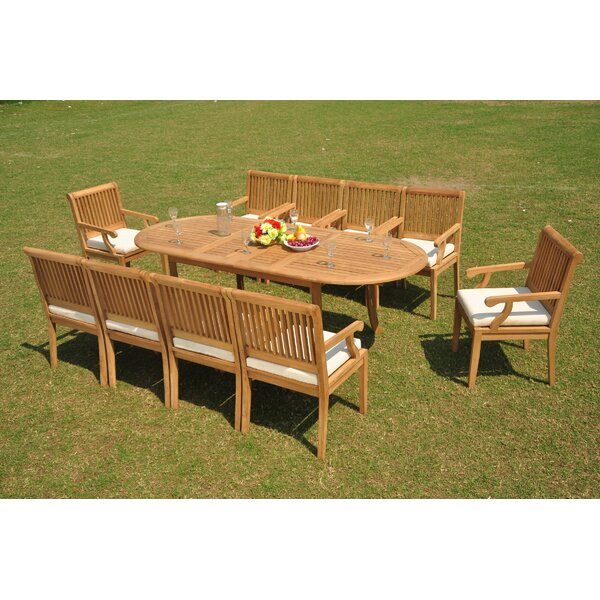 Lonnie 11 Piece Teak Dining Set by Rosecliff Heights