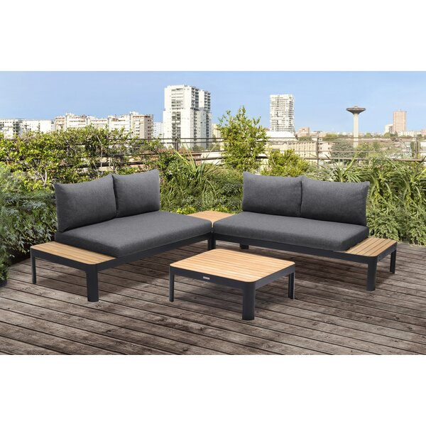 Portals Outdoor 4 Piece Teak Sofa Seating Group with Cushions by Armen Living