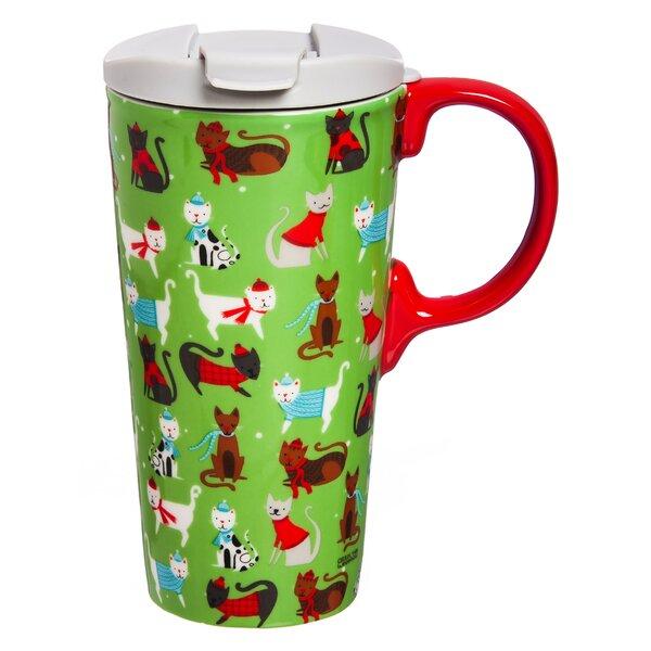 Sassy Cats 17 oz. Ceramic Travel Mug by The Holiday Aisle