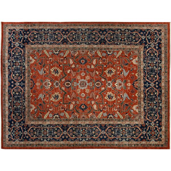 Badham Hand-Knotted Wool Rust/Blue Area Rug by Bloomsbury Market