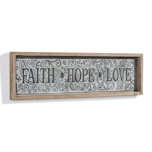'Faith-Hope-Love' Framed Textual Art on Metal by August Grove