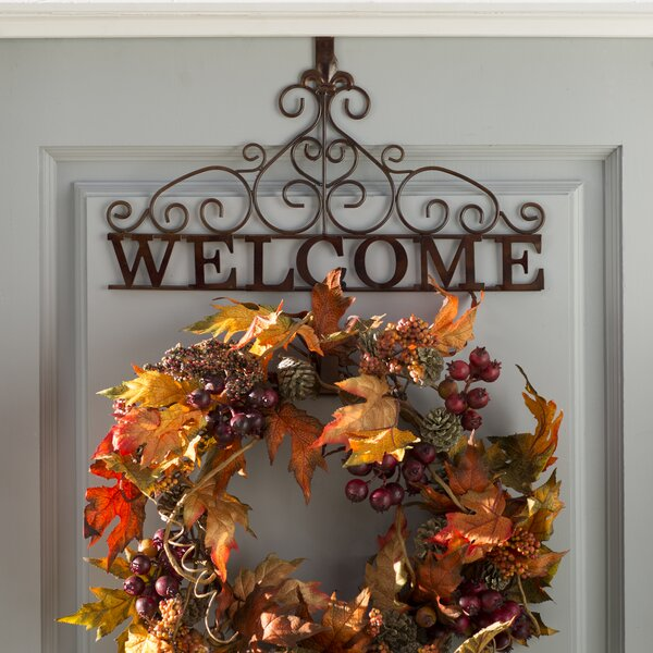 Rustic Welcome 15.35 Wreath Holder by Three Posts