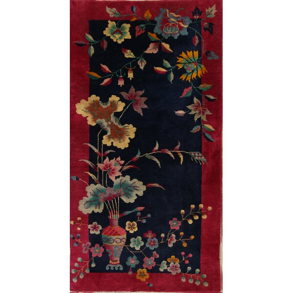 Lito Art Deco Chinese Oriental Hand-Knotted Wool Red/Black/Blue Area Rug by Bloomsbury Market