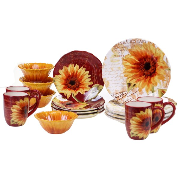 Paris Sunflower 16 Piece Dinnerware Set, Service for 4 by Certified International