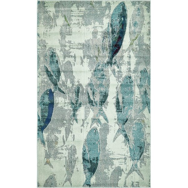 Ethel Stain Resistant Light Blue Area Rug by Bayo