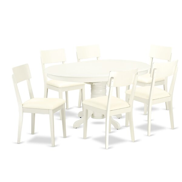 Emmaline 7 Piece Solid Wood Dining Set by Alcott Hill