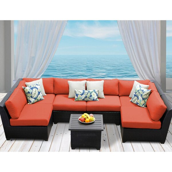 Barbados 7 Piece Rattan Sectional Set with Cushion