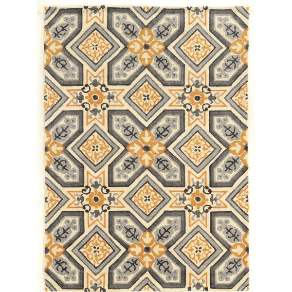 Mugge Hand-Tufted Gray/Gold Area Rug by Charlton Home