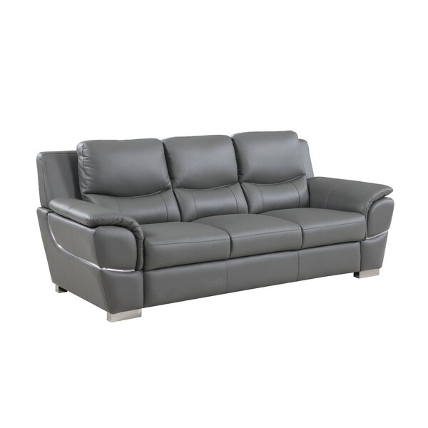 Last Trendy Henton Leather Sofa by Latitude Run by Latitude Run