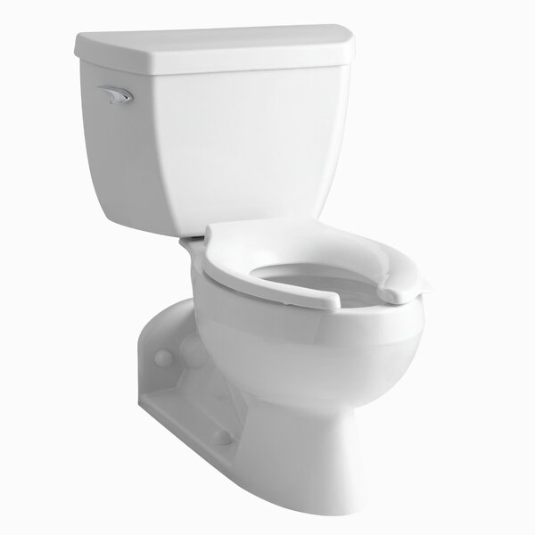 Barrington Two-Piece Elongated 1.0 GPM Toilet with Pressure Lite Flushing Technology, Left-Hand Trip Lever and Toilet Tank Lock by Kohler