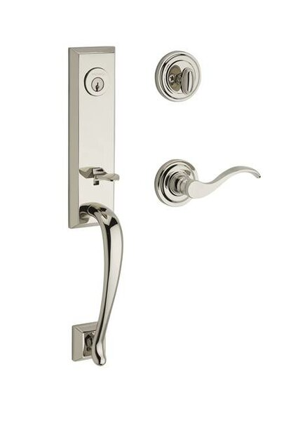 Del Mar Single Cylinder Handleset with Curve Door Lever and Traditional Round Rose by Baldwin
