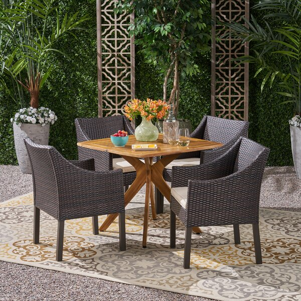 Eline 5 Piece Dining Set with Cushions by Wrought Studio