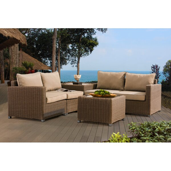 Atchley 4 Piece Rattan 2 Person Seating Group with Cushions by Darby Home Co