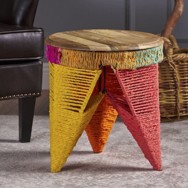 Burna End Table with Wood Top by Bungalow Rose
