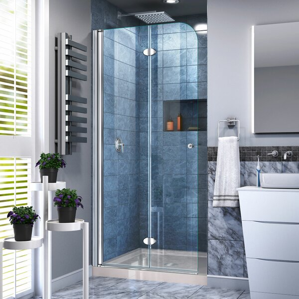 Aqua Fold 33.5 x 74.75 Square Hinged Shower Enclosure with Base Included by DreamLine