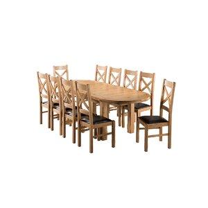 Essgruppe Canterbury mit ausziehbarem Tisch und 10 Stühlen von Brick & Barrow