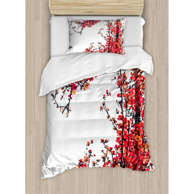 Ambesonnetraditional House Anese Cherry Blossom Sakura Branch Made With Brush Artsy Image Duvet Cover Set