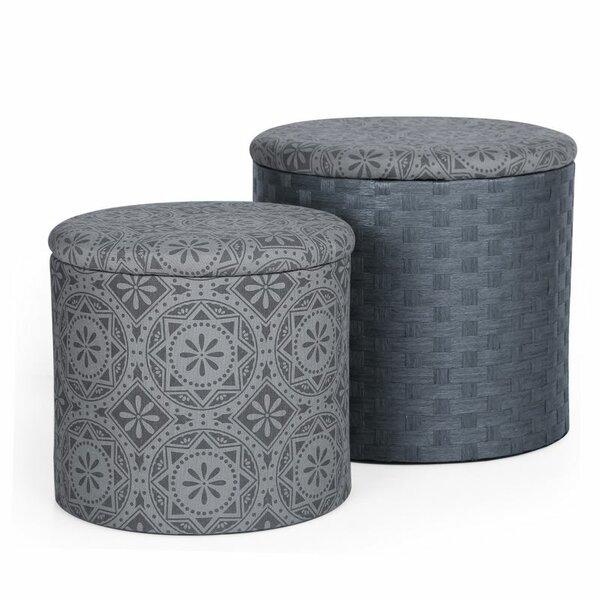 2 Piece Storage Ottoman Set by Adeco Trading