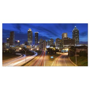 Atlanta Skyline Twilight Blue Hour Cityscape Photographic Print on Wrapped Canvas by Design Art