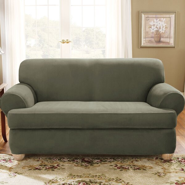Soft Suede T-Cushion Loveseat Slipcover By Sure Fit