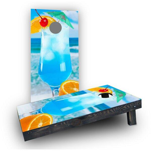 Blue Drink on the Beach Cornhole Boards (Set of 2) by Custom Cornhole Boards