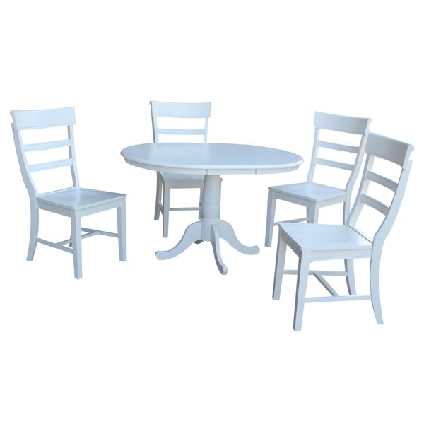 Petra Traditional Extendable Pedestal 5 Piece Dining Set by August Grove