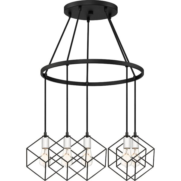 Theodorus 5-Light Unique / Statement Wagon Wheel Chandelier By Wrought Studio