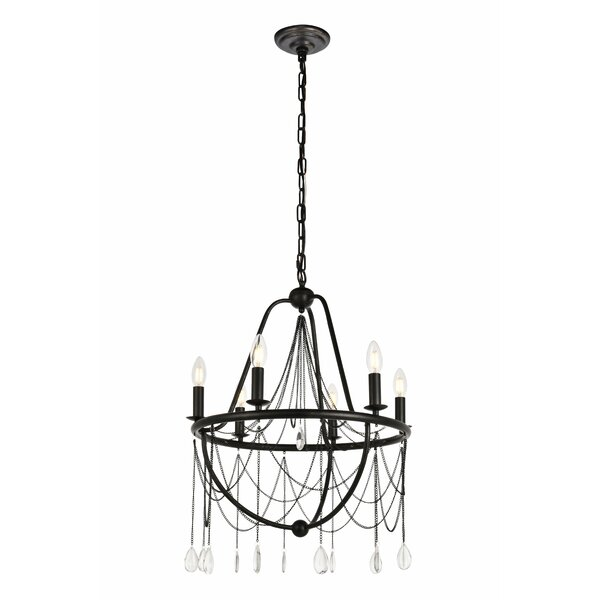 Woodhull 6 - Light Candle Style Wagon Wheel Chandelier By Gracie Oaks