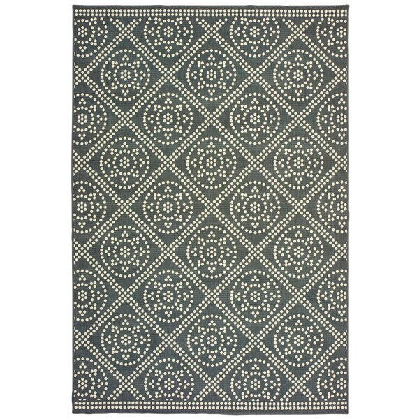 Salerno Lattice Medallions Beige/Gray Indoor/Outdoor Area Rug by Charlton Home