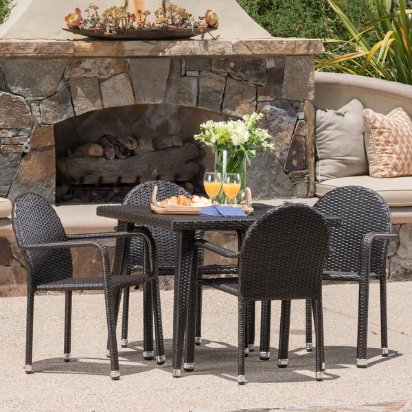 Georgianne Outdoor Wicker 5 Piece Dining Set by Ivy Bronx