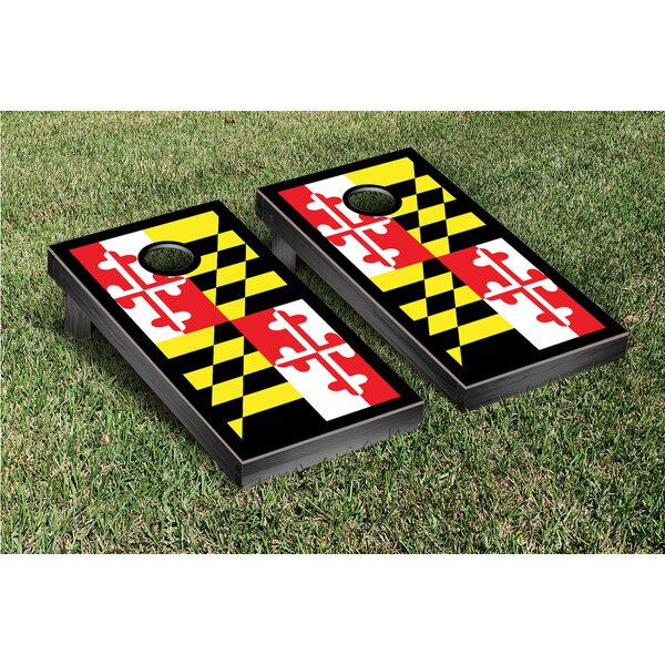 State Maryland Flag Border Cornhole Boards Game Set by Victory Tailgate