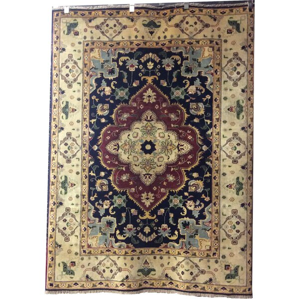 One-of-a-Kind Champlost Hand-Knotted Wool Navy Blue/Rust Area Rug by Red Barrel Studio