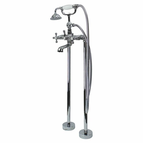 Cromwell Double Handle Floor Mounted Freestanding Tub Filler with Hand Shower by Transolid