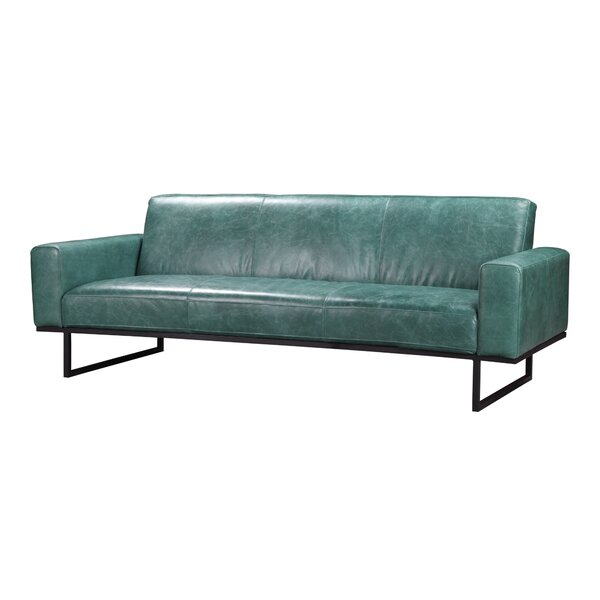 Oak Park Leather Sofa by 17 Stories